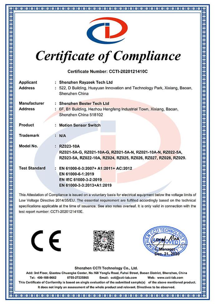 rayzeek motion sensor ce certification
