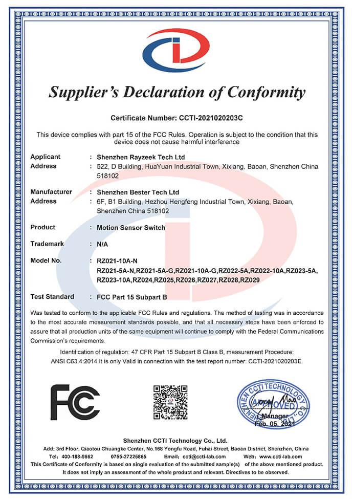 rayzeek motion sensor fcc certification