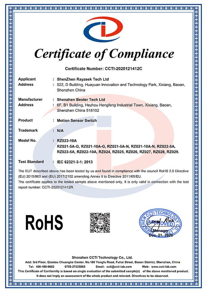 rayzeek motion sensor rohs certification